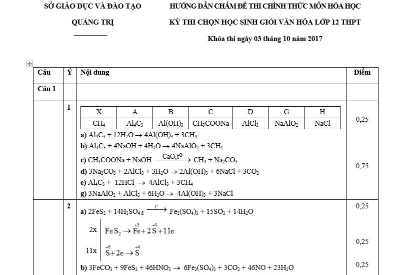 Đề thi HSG Hóa 12 tỉnh Quảng Trị