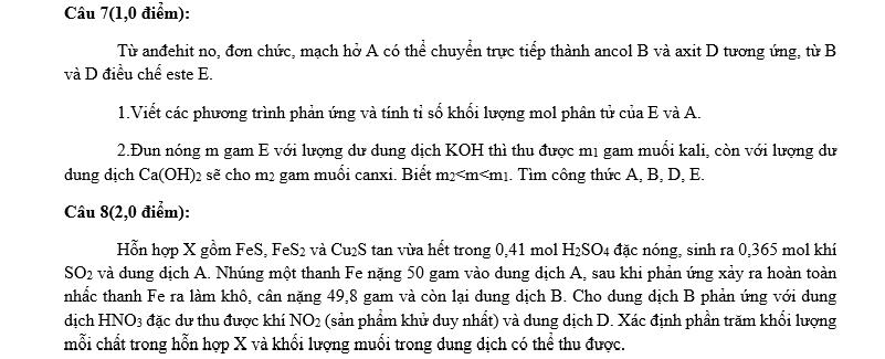 Đề thi HSG môn Hóa học lớp 12 Tỉnh Thanh Hóa 2015-2016
