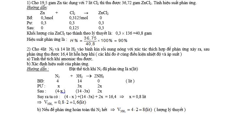 Bài toán hiệu suất phản ứng