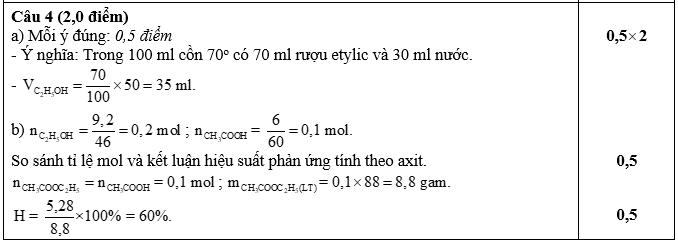 Đề thi học kì 2 môn Hóa học 9