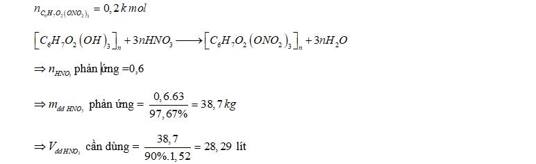 Để sản xuất 59.4 kg xenlulozo trinitrat