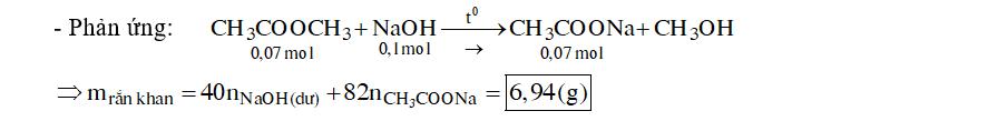 Đun nóng 5,18 gam metyl axetat với 100ml dung dich NaOH 1M đến phản ứng hoàn toàn. Cô cạn dung dịch sau phản ứng, thu được m gam chất rắn khan. Giá trị của m là