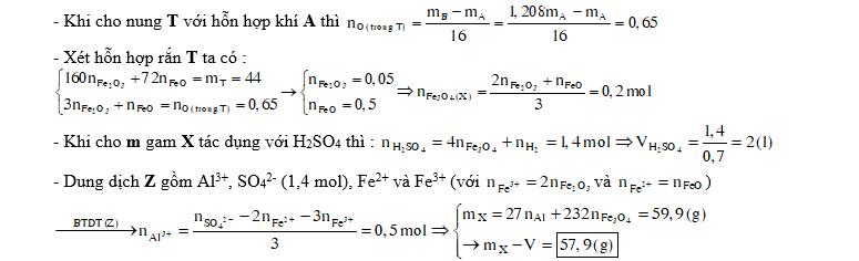 Nung m gam hỗn hợp X gồm bột Al và Fe3O4 sau một thời gian thu được chất rắn Y. Để hoà tan hết Y cần V lít dung dịch H2SO4 0,7M (loãng). Sau phản ứng thu được dung dịch Z và 0,6 mol khí