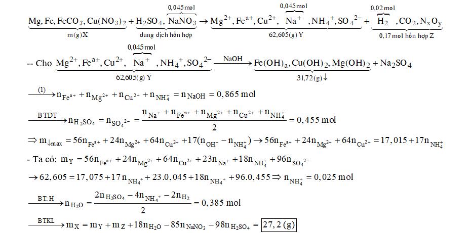 Hòa tan hoàn toàn m gam hỗn hợp X gồm Mg, Fe, FeCO3 và Cu(NO3)2bằng dung dịch chứa H2SO4 loãng và 0,045 mol NaNO3thu được dung dịch Y chỉ chứa 62,605 gam muối trung hòa (không có ion Fe3+) và 3,808 lít (đktc) hỗn hợp khí Z (trong đó có 0,02 mol H2) có tỉ khối so với O2bằng 19/17