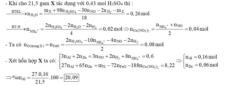 Hòa tan hoàn toàn 21,5 gam hỗn hợp X gồm Al, Zn, FeO, Cu(NO3)2 cần dùng hết 430 ml dung dịch H2SO4 1M thu được hỗn hợp khí Y (đktc) gồm 0,06 mol NO và 0,13 mol H2, đồng thời thu được dung dịch Z chỉ chứa các muối sunfat trung hòa
