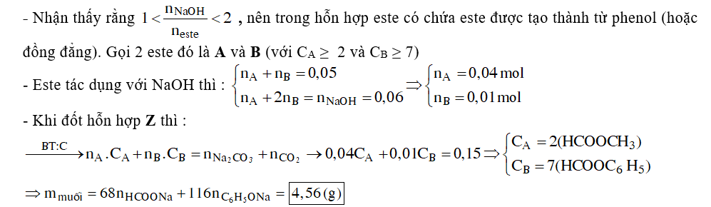 Cho 0,05 mol hỗn hợp 2 este đơn chức X và Y phản ứng vừa đủ với dung dịch NaOH thu được hỗn hợp các chất hữu cơ Z. Đốt cháy hoàn toàn Z thu được 0,12 mol CO2 và 0,03 mol Na2CO3 .Nếu làm bay hơi hỗn hợp Z thu được m gam chất rắn khan .Giá trị của m là