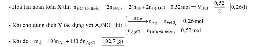 Để hòa tan hoàn toàn hỗn hợp X gồm 11,2 gam Fe và 4,8 gam Fe2O3 cần dùng tối thiểu V ml dung dịch HCl 2M, thu được dung dịch Y .Cho dung dịch AgNO3 vào dư vào Y thu được m gam kết tủa . Giá trị của V và m lần lượt là: