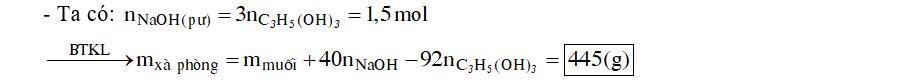 Xà phòng hóa hoàn toàn m gam triglixerit X bằng lượng vừa đủ NaOH thu được 0,5 mol gilixerol và 459 gam muối khan. Giá trị của m là