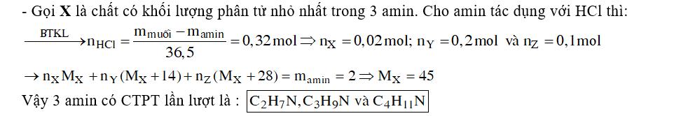 Cho 20 gam hỗn hợp gồm 3 amin no, đơn chức, là đồng đẳng liên tiếp của nhau (được trộn theo tỉ lệ mol 1: 10: 5 và thứ tự phân tử khối tăng dần) tác dụng vừa đủ với dung dịch HCl, thu được 31,68 gam hỗn hợp muối. Công thức phân tử của ba amin là