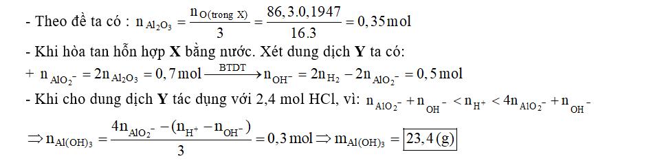 Cho 86,3 gam hỗn hợp X gồm Na, K, Ba và Al2O3 (trong đó oxi chiếm 19,47% về khối lượng) tan hết vào nước, thu được dung dịch Y và 13,44 lít khí H2 (đktc). Cho 3,2 lít dung dịch HCl 0,75M vào dung dịch Y. Sau khi các phản ứng xảy ra hoàn toàn, thu được m gam kết tủa. Giá trị của m là