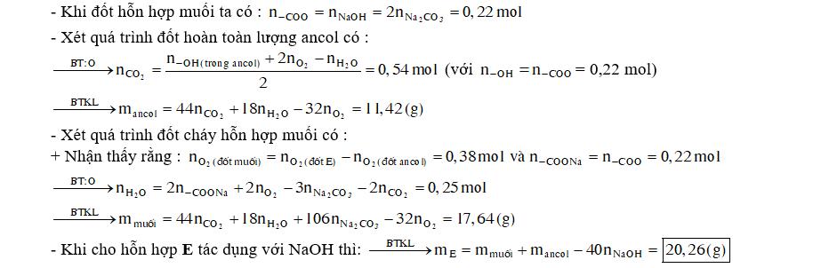 Hỗn hợp E chứa ba este mạch hở (không chứa chức khác). Đốt cháy hoàn toàn m gam E cần dùng vừa đủ 1,165 mol O2