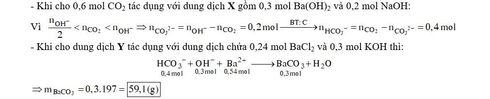 Sục 13,44 lít CO2 (đktc) vào 200 ml dung dịch X gồm Ba(OH)2 1,5M và NaOH 1M. Sau phản ứng thu được dung dịch Y. Cho dung dịch Y tác dụng với 200 ml dung dịch hỗn hợp BaCl2 1,2M và KOH 1,5M thu được m gam kết tủa. Giá trị của m là
