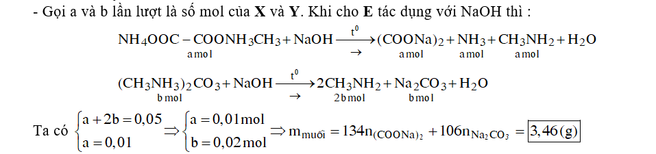 Hỗn hợp E gồm chất X (C3H10N2O4) và chất Y (C3H12N2O3). X là muối của axit hữu cơ đa chức, Y là muối của một axit vô cơ. Cho 3,86 gam E tác dụng với dung dịch NaOH dư, đun nóng, thu được 0,06 mol hai chất khí (có tỉ lệ mol 1: 5) và dung dịch chứa m gam muối. giá trị của m là