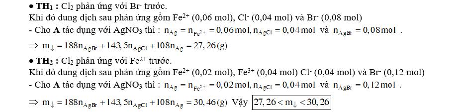 Sục 0,02 mol Cl2 vào dung dịch chứa 0,06 mol FeBr2 thu được dung dịch A. Cho AgNO3 dư vào A thu được m gam kết tủa. Biết các phản ứng xảy ra hoàn toàn. Giá trị của m là