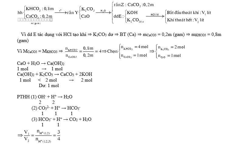 Nung m gam hỗn hợp X gồm KHCO3 và CaCO3 ở nhiệt độ cao đến khối lượng không đổi, thu được chất rắn Y. Cho Y vào nước dư, thu được 0,2m gam chất rắn Z và dung dịch E