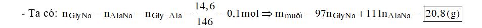 Đun nóng 14,6 gam Gly-Ala với lượng dư dung dịch NaOH. Sau khi phản ứng xảy ra hoàn toàn, thu được dung dịch chứa m gam muối. Giá trị m là