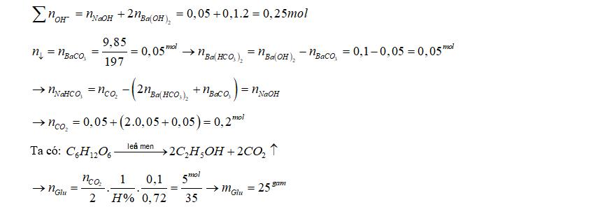 Lên men m gam glucozơ với hiệu suất 72%. Lượng CO2 sinh ra được hấp thụ toàn toàn vào 500 ml dd hỗn hợp gồm NaOH 0,1M và 0,2M sinh ra 9,85 gam kết tủa. Giá trị của mlà