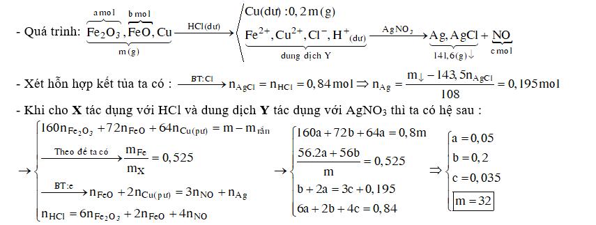 Hỗn hợp X gồm Fe2O3, FeO và Cu (trong đó sắt chiếm 52,5% về khối lượng). Cho m gam X tác dụng với 420 ml dung dịch HCl 2M dư, thu được dung dịch Y và còn lại 0,2 m gam chất rắn không tan. Cho dung dịch AgNO3 dư vào Y thu được khí NO và 141,6 gam kết tủa. Biết các phản ứng xảy ra hoàn toàn. Giá trị của m là