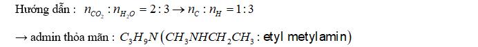Đốt cháy hoàn toàn một amin đơn chức, no, bậc 2 thu được CO2 và H2O với tỷ lệ mol tương ứng là 2:3. Tên gọi của amin đó là